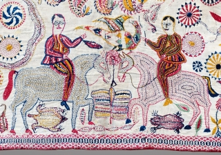 Kantha quilted embroidery Early Twentieth century  This baytan kantha has a large central mandala with a traditional pelated form surrounded by boteh, or paisley motifs, and four tree of life forms. between them are  ...