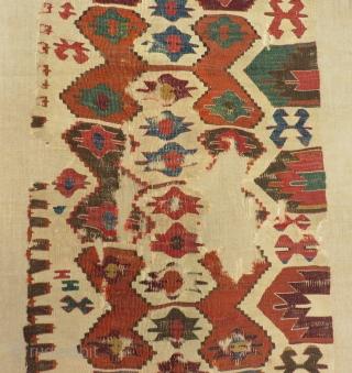 Second 18th Century Anatolian Kilim One Part Size.283x67 Cm