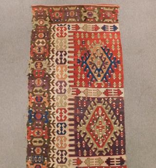Mid 19th Century Anatolian Kilim One Part Size.380x82 Cm