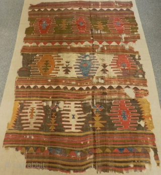Second 18th Century West Anatolian fragment Kilim Size.213x135 Cm