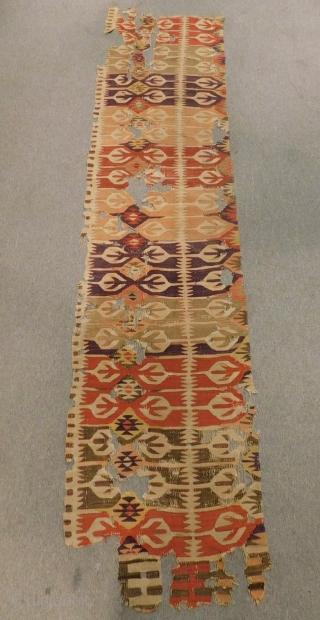 Central Anatolian Aksaray Kilim fragment Size.265x60 Cm