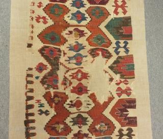 18th Century Anatolian Kilim One Part Size.283x67cm
