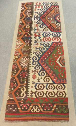 Mid 18th C Central Anatolian Konya fragment Kilim mounted on linen Size.205x70 Cm