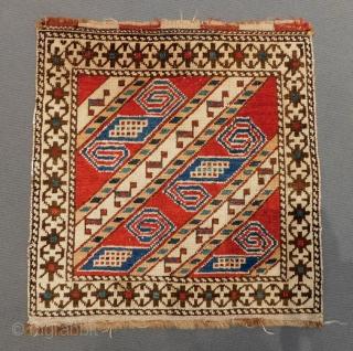 Antique Caucasian Shirvan Bagface Two Pieces Circa 1880.90 Size.53x52Cm53x52 Cm
