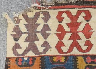 19th Century Central Anatolian Konya Hotamış Kilim One Part Size.327x85cm