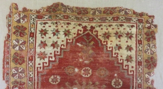 18th Century Central Anatolian Konya Prayer frangment Carpet Size.165x120cm