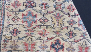 Antique Caucasian 19th Century Chici Şirvan Carpet.With Charing Colour.Size:130x105cm