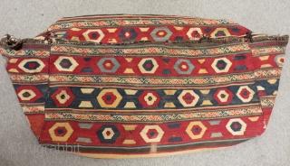 Circa 1880 Antique Caucasian Bedding bag Kilim All Colours Natural Size.100x50 Cm