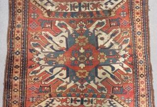 Antique Caucasian  eagel kazak with single madalion all natural dyes Size.205x160 Cm