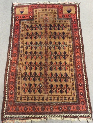 Antique Baluch Prayer Rug Size.154x96 Cm
