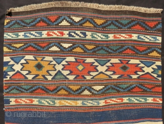 Antique Shahsavan Besik Kilim Panel Size.173x73 Cm