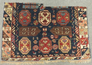 Antique Caucasian Dagıstan Fragment Carpet Size.90x62cm