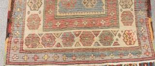 Antique Caucasian Talish Carpet Some Area Old Repairs Size.260x110cm