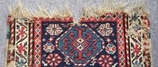 Antique Caucasian Karabakh Bagface Carpet Size.52x40cm