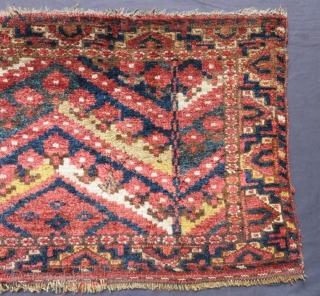 Antique Beşir Fragment Carpet Size.60x42cm