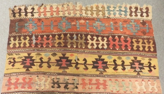 Antique Central Anatolian Aksaray Kilim Size.380x155cm