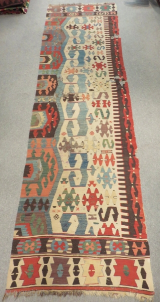 Early West Anatolian One Part Kilim Size.325x90 Cm