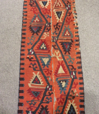Early 19th Century East Anatolian Kilim Bordur Two pieces Size.293x26cm270x23 Cm