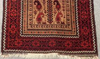 Antique Baluch Prayer Rug Size.140x84 Cm