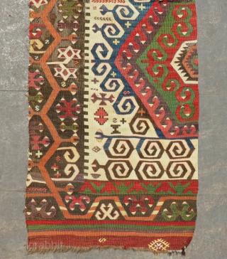 Mid 18th Century Central Anatolian Kilim fragment Size.205x70 Cm