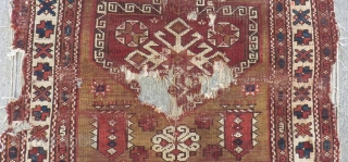 Early 19th Century West Anatolian Bergama fragment Rug Size.100x90cm