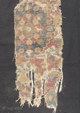 17th Century l think Persian kirman Rug fragment Size.110x24 Cm