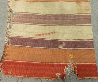 Early 19th Century Central Anatolian Kapadokya Striped Kilim One Part Size.350x90cm