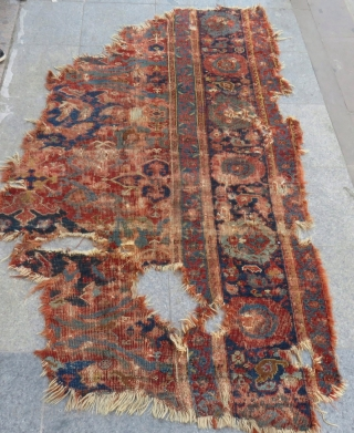 18th Century West Anatolian Ushak Fragment Size.225x125cm