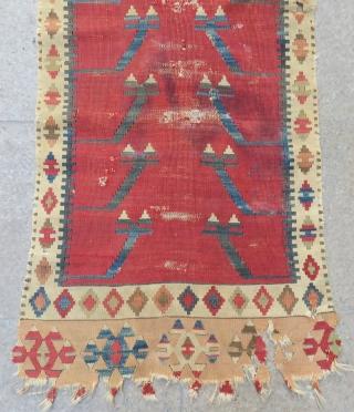 Antique Central Anatolian Konya Prayer Fragment Kilim Size.170x60cm