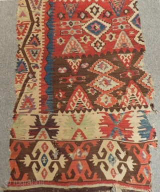 Early 19th C East Anatolian Sivas Kilim One Part Size.380x85cm