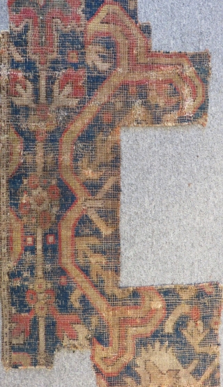 Early 18th C Caucasian Kuba Fragmengt Rug Size.105x40cm