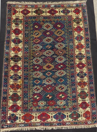 Antique Caucasian Shirvan Kuba Rug Missing brown lines at the edge and repaired ends Size.134x98 Cm