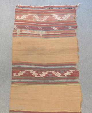 Antique Anatolian Striped Kilim One Part Size.370x90cm