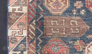 Antique Caucasian Dagıstan Fragment Rug Size.90x62cm