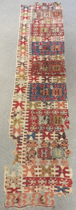 19th Century  Anatolian Kilim One Part Size.310x62cm