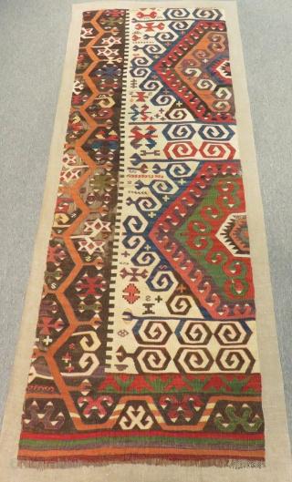 Early 19th C Central Anatolian Konya fragment Kilim mounted on linen Size.205x70 Cm