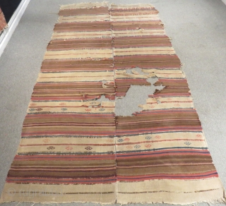 18th Century Central Anatolian Striped Kilim Size.310x150cm