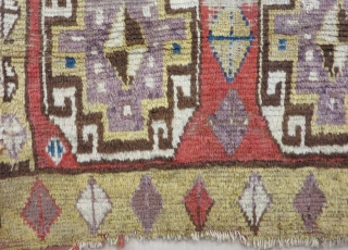 18th Century Central Anatolian Capadokya Fragment Rug Size.95x92cm
