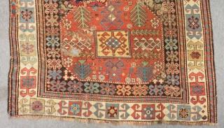 Mid 19th Century Caucasian Chayli Rug Aksafa Borders Size.274x110 Cm