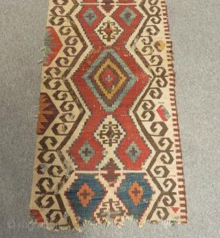 18th Century Central Anatolian Kilim One Part Size.320x61cm