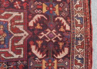 Antique Qashqai Khamseh Bagface Some places have silk Size.73x56 Cm