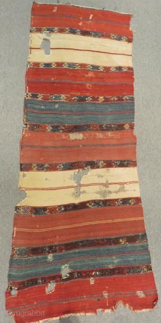 Early 19th Century Anatolian Striped Kilim fragment Size.200x73 Cm