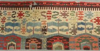 Second 19th Century West Anatolian Kilim Size.325x90 Cm
