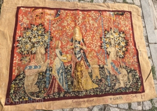 Approximately 100 years old Royal Paris stamped tapestry. Fine product with fine embroidery frame measurements outward from 90x130, table size 80x110 cm.