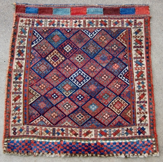"""19th C. Fine Kurd sumak bag face, 1'10"""" x 1'10"""".  A wonderful example: beautiful dyes, excellent composition, and high technical excellence."""