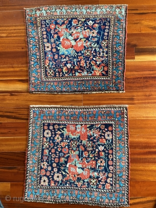 S.W. Persian Khamseh bagfaces, Circa 1880.  Hard to photograph these remarkable Gul Ferang design bagfaces.  The wool is just too shiny.  In addition to the lustrous quality of the  ...