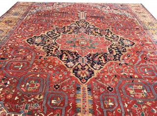 Folks who are looking for a palatial antique decorative Persian Heriz, this could be a good call. It is absolutely in fantastic condition for its age. like everyone at this age, it  ...