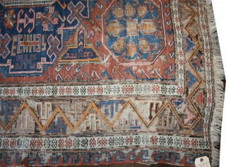 Folks who are looking for an antique thin rug with a worn out look, the Soumak that I am offering here could be a great choice. This is a very early Soumak,  ...