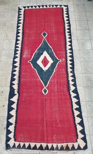 Exquisite bijar kilim with minimalistic design, Circa 1940 , size 300 * 116 cm
