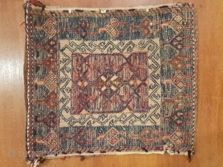 Double faced bakhtiary chanteh , over 80 years old , 30 * 28 cm 